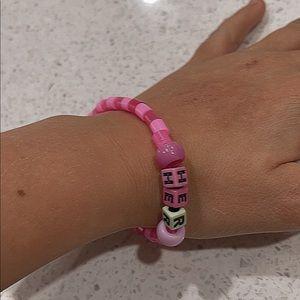 Pink 'her' bracelet Preppy